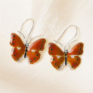 Sterling Silver Copper Butterfly Earrings